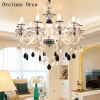 De Lujo europeo blanco y negro cristal vela lámpara comedor dormitorio francés LED vidrio araña