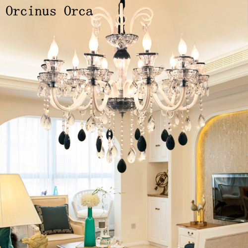 European Luxury Black And White Crystal Candle Chandelier Living Room Dining Room Bedroom French LED Stained Glass Chandelier