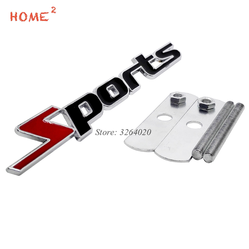 For Sport Logo 3D Car Styling Front Stickers Metal Grille Emblem Badge for Audi Sport BMW e90 Mercedes Benz W204 Ford Opel Lada akd car styling for mercedes benz gle class gle350 led star light drl front grille led logo emblem daytime running light emblem