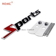 For Sport Logo 3D Car Styling Front Stickers Metal Grille Emblem Badge for Audi Sport BMW e90 Mercedes Benz W204 Ford Opel Lada 3d fr car front grille emblem badge stickers styling for honda audi bmw seat ibiza leon altea toyota mercedes benz volkswagen vw