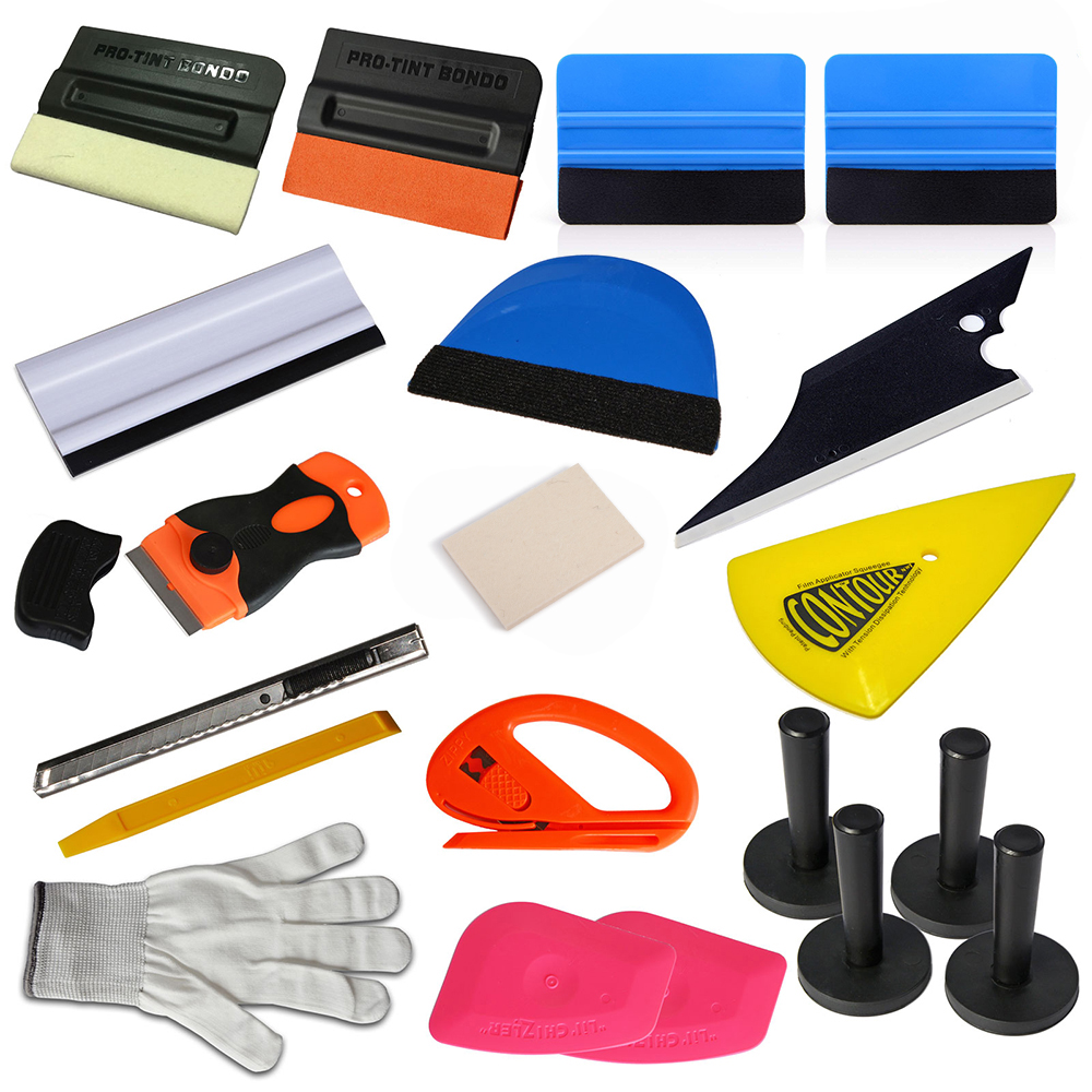 EHDIS 20 pièces Carbone emballage de voiture en Vinyl Outils Raclette Fenêtre Teinte Outil De Réparation Ensemble support magnétique Vinyle Coupe-Film Voiture Accessoires