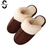 Senza Fretta Men Shoes Winter Warm Couple Wool Slipprs Indoor Soft Thick Bottom Non Slip Slippers