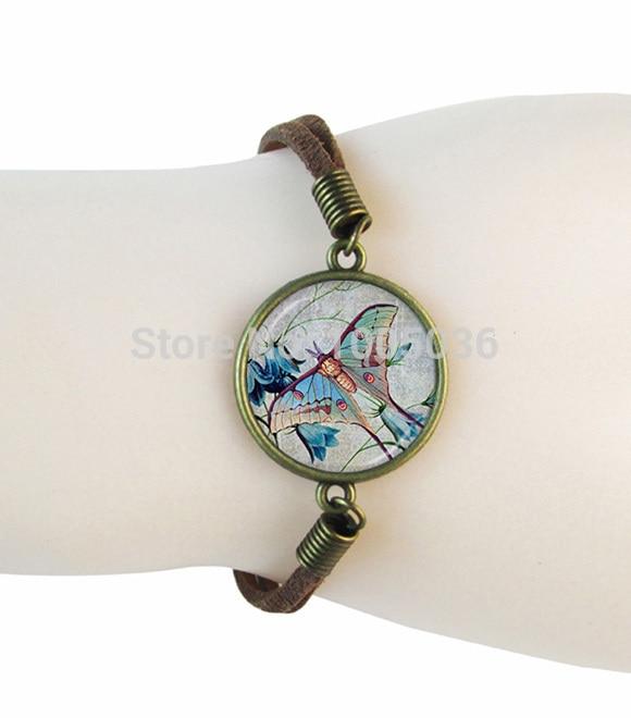 Butterfly bracelet insect jewlery glass dome animal pendant women men suede leather bracelet bangle handmade jewellery wholesale