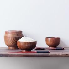 Купить с кэшбэком European / Chinese / Japanese / wooden bowl bowl children fall Zaomu acid baby large bowl bowl wooden tableware exports