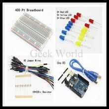 Starter Kit Para Arduino Uno R3 Kit Básico de DIY-UNO R3, cabo USB, placa de ensaio, 65 pcs Fios Jumper, LED Freeshipping
