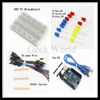 Starter Kit For Arduino Uno R3 DIY Basic Kit UNO R3 USB Cable Breadboard 65pcs Jumper