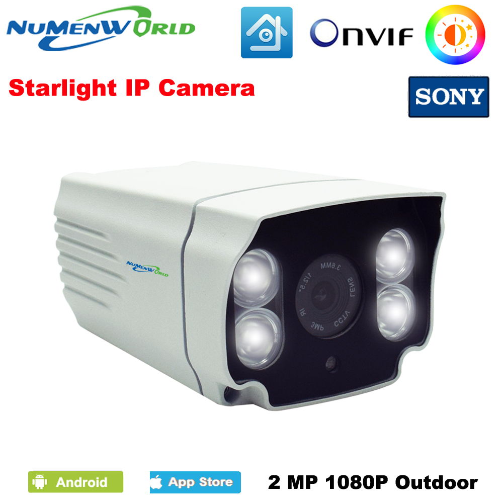 1080P Sony sensor Full color IP Camera outdoor CCTV P2P ONVIF 4Pcs White light LED day and night full color Security Monitoring wistino cctv camera metal housing outdoor use waterproof bullet casing for ip camera hot sale white color cover case