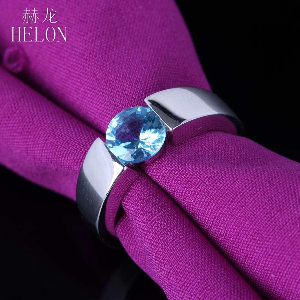 Bague topaze bleue HELON bague en argent Sterling 925 ronde 6mm topaze bleue surface lisse anniversaire bague de mariage femmes bijoux fins