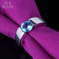 HELON Blue Topaz Ring 925 Sterling Silver Ring Round 6mm Blue Topaz Smooth surface Anniversary Wedding Ring Women Fine Jewelry