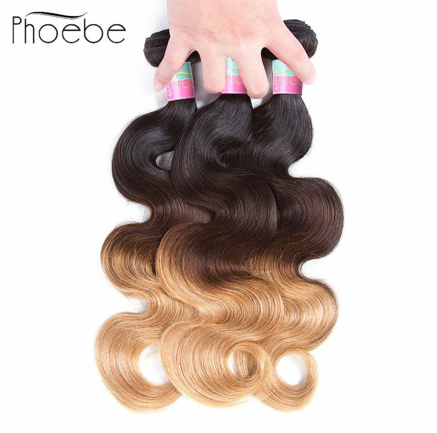 Phoebe Hair Pre-colored1B-4-27 Peruvian Body Wave 4 Bundles 100% Human Hair Non-Remy Hair Weaves Extensions 10-26 Inch