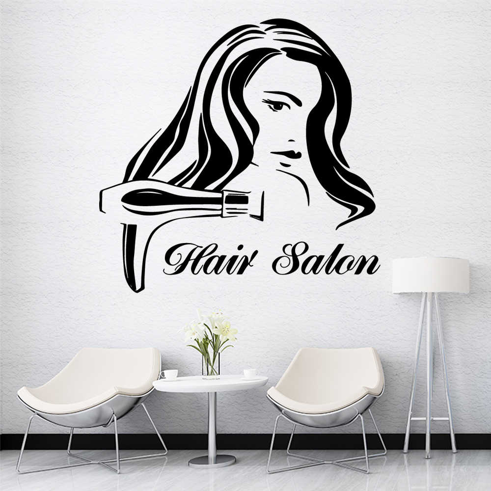 Artistieke Hair Salon Muurstickers Vinyl Behang Voor Haar Salon Muurtattoo Art Mural Poster Kapper Decals Sticker
