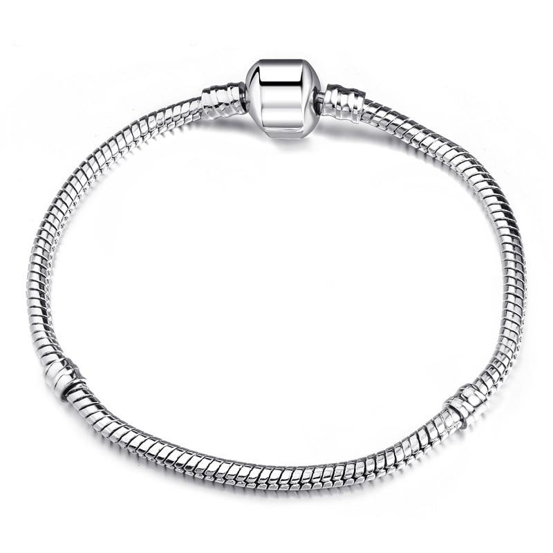 Новинка, браслет с подвеской из розового золота с Микки-Маусом, цепочка со змеей, подходит для Pan, базовые браслеты для модных женщин, бусины, сделай сам, ювелирное изделие - Окраска металла: NSL006-Silver