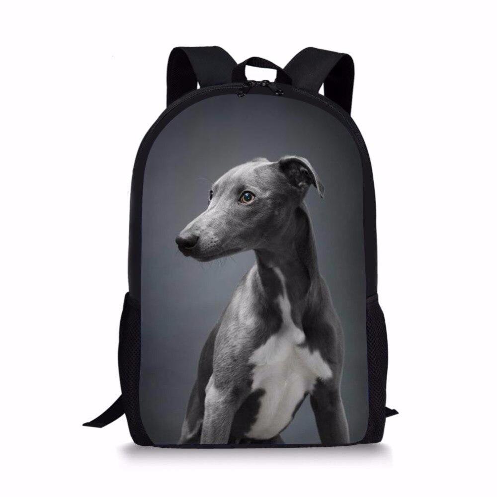 Customized Children School Bag Dark Grey Italian Greyhound Printing For Teenager Boy Girl Kids Backpack Bookbag Satchel Mochila