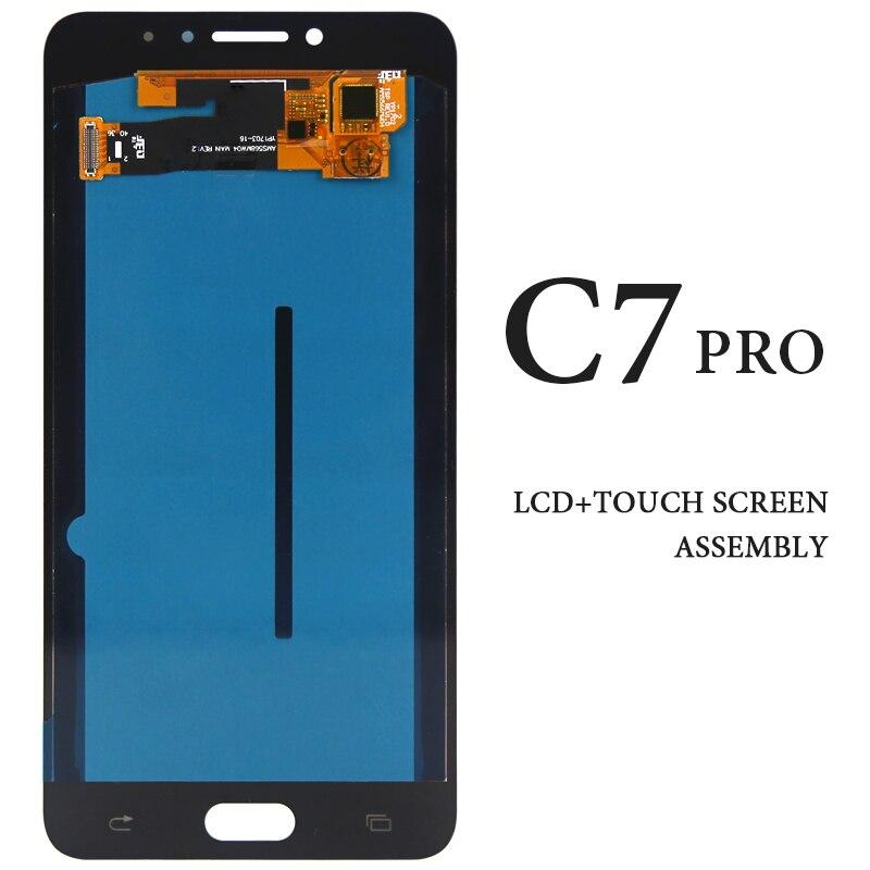 Affichage noir blanc d'or pour le panneau d'écran tactile d'affichage à cristaux liquides de Samsung Galaxy C7 Pro C7010 SM-C7010Z 5.7 pouces AMOLED aucun Pixel mort communauta