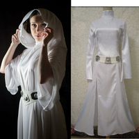 New Star Wars Costume Princess Leia Cosplay Costume Made Girls Clothes Female Summer Fall Dress With
