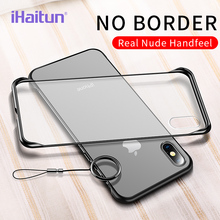 iHaitun Luxury Borderless Phone Case For iPhone XS MAX XR X Cases Ultra Thin Back Cover 10 7 8 Plus Slim Ring Strap
