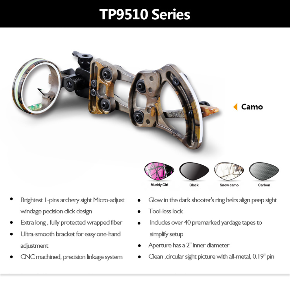Toppoint 1 pins 019 Bow Sight with Micro Adjust Detachable Bracket Sight Light for Compound Bow