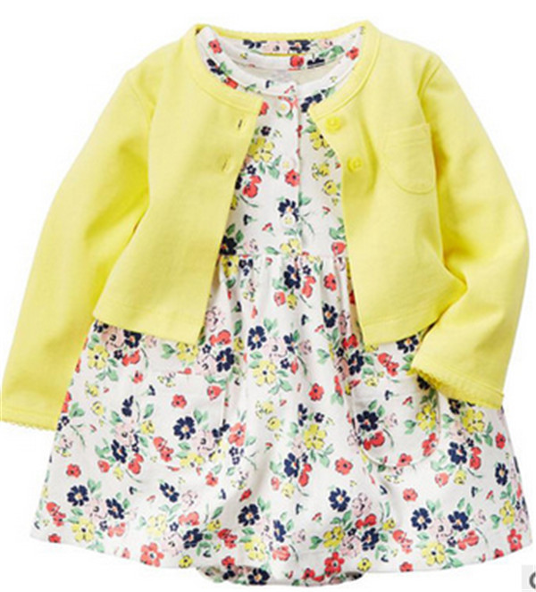 New 2016 spring Baby Sets Infant Baby Girls Clothes Cute font b Bodysuit b font Dress