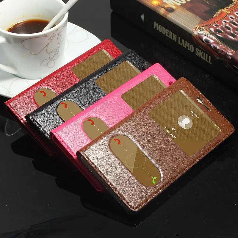 imágenes para Caja Del Cuero genuino Para Huawei P9 P9 Lite Lite de Lujo Ventana de Visualización Cubierta Protectora Para Huawei Caso Del Tirón