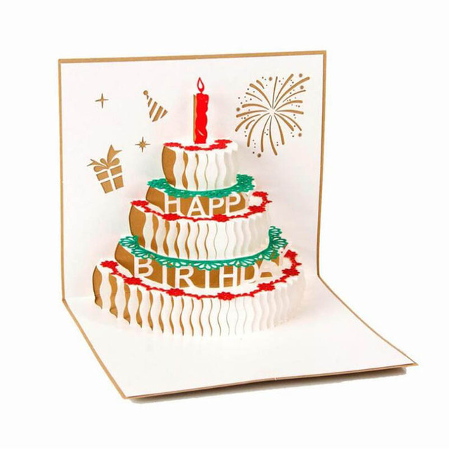 Paper Sculpture Cut Invitation Card Birthday Cake Design Greeting ...