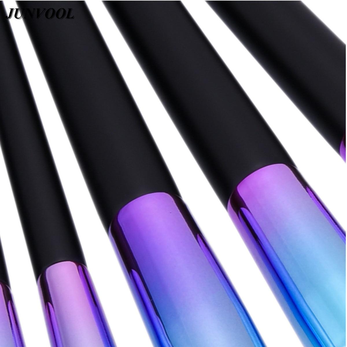Wood Handle Makeup Brushes Set 7Pcs/set Dazzle Glitter Foundation Powder Brush Kit Rainbow Eyeshadow Lip Kabuki Beauty Tools