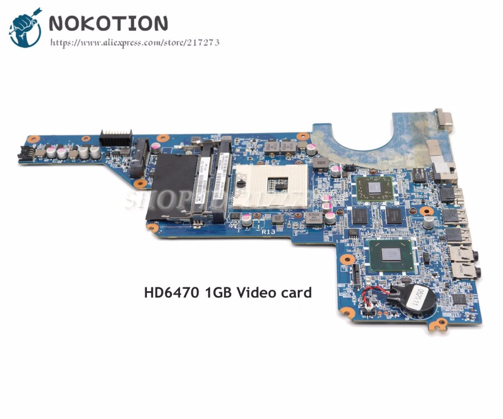 NOKOTION 650199-001 636375-001 MAIN BOARD For HP Pavilion G4 G6 G7 Laptop Motherboard HM65 DDR3 HD6470 1GB Video Card Free CPU