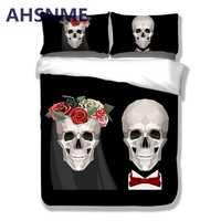 AHSNME 3 pièces 3D crâne cauchemar sommeil actif impression literie ensemble qualifié literie conception Unique pas de décoloration housse de couette USA Queen