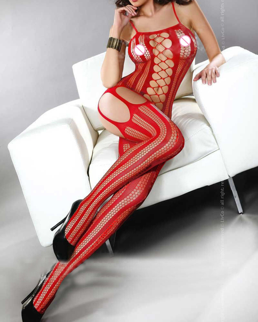 Women's Sexy Lingerie Hot Bodystocking Open Crotch Dress Underwear Stocking Erotic Fishnet Lingerie Sex Body Intimates  QQ043