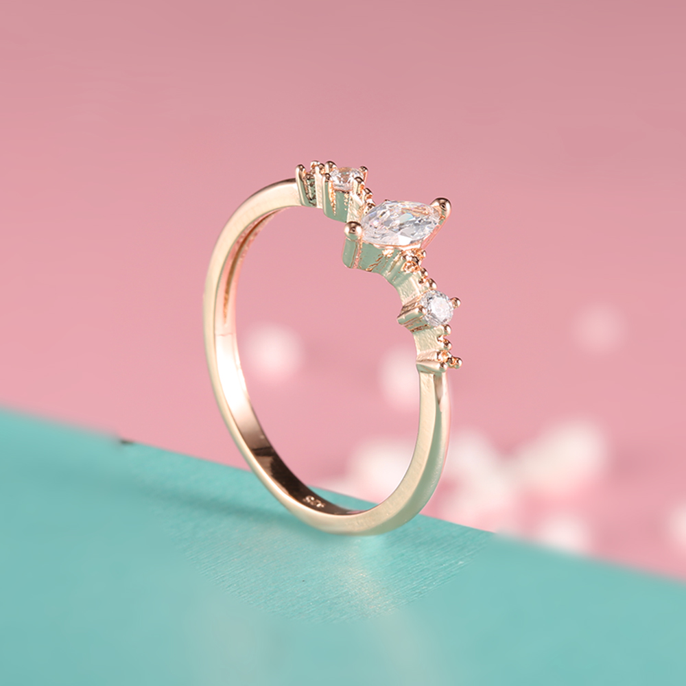 ROMAD Marquise Cut Engagement Ring for Women Three Stone Cluster ...