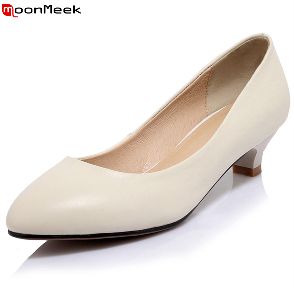MoonMeek spring summer high heels pointed toe slip on shallow square heel white black color pumps women shoes dress shoes trendy thin heel pointed toe women polka dot pump spring slip on high heels black white stiletto 2018 brand fetish factory shoes