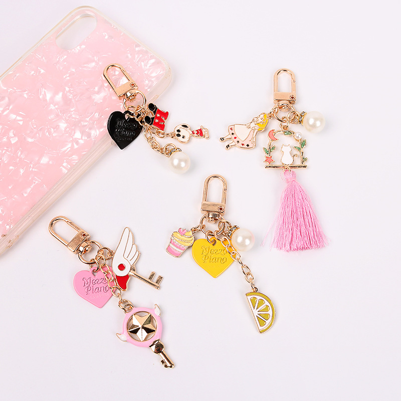 Japanese Sweet Lovely Sakura Card Girl Heart Pearl Tassels Bag Charm  Luxury Keychain  Bunny Keychain  Llaveros Para Mujer
