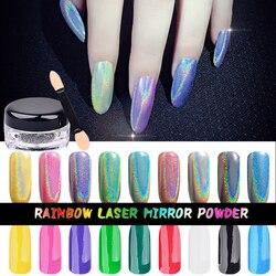 Neue Top Qualität 1 gr/schachtel Regenbogen Shinning Spiegel Nagel Glitter Pulver Perfekte Holographische Nägel Staub Laser Holo Nägel Pigment