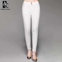 autumn spring woman pants white beige khaki pants with pockets ankle length fashion casual stretchy elastic cotton pants