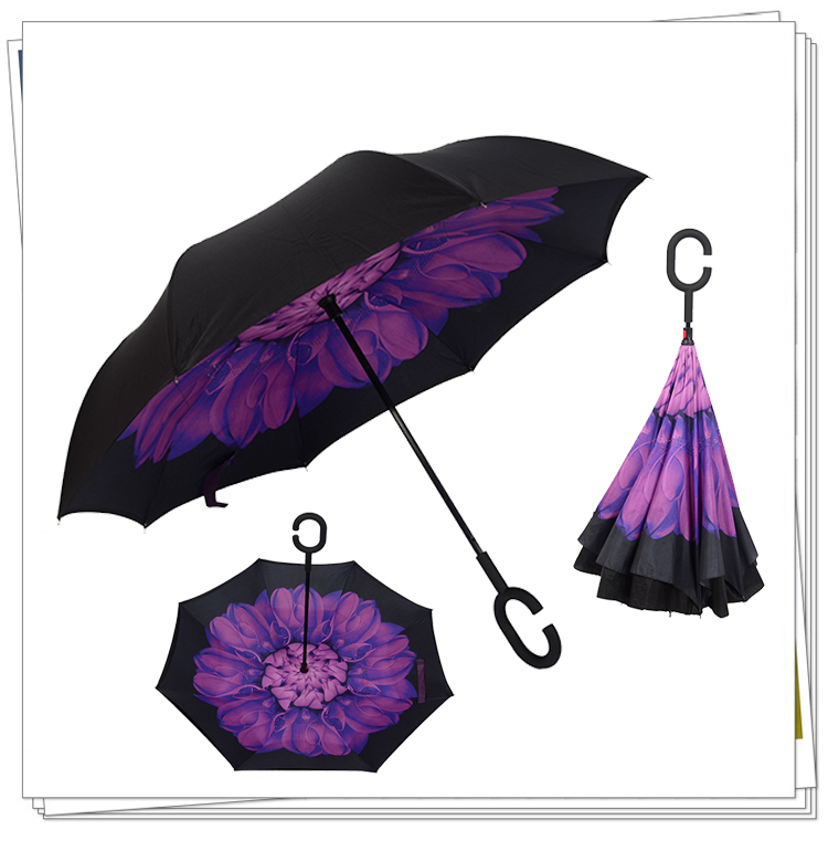 Car Necessary Creative Pretty Windproof Reverse Folding Double Layer Inverted Sturdy Umbrella Distinctive C Hook Hands free in Waterproof Umbrella Sets from Automobiles Motorcycles