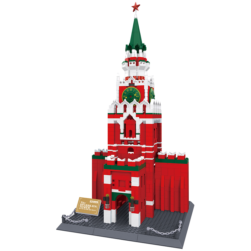 1048pcs Famous Architecture Series The spasskaya Tower Of Moscow KREMLIN Model Building Blocks Original Wange Bricks the architecture of john wellborn root