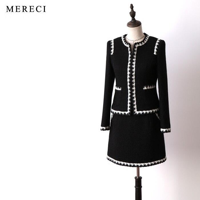 Nouvelles étagères le ting a le printemps et automne période et le noir laine tweed petit doux vent trajet court manteau costumes