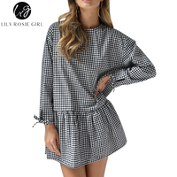 Lily Rosie Girl White Black Plaid Casual Dresse For Women Mini Fashion Button Back Long Sleeve
