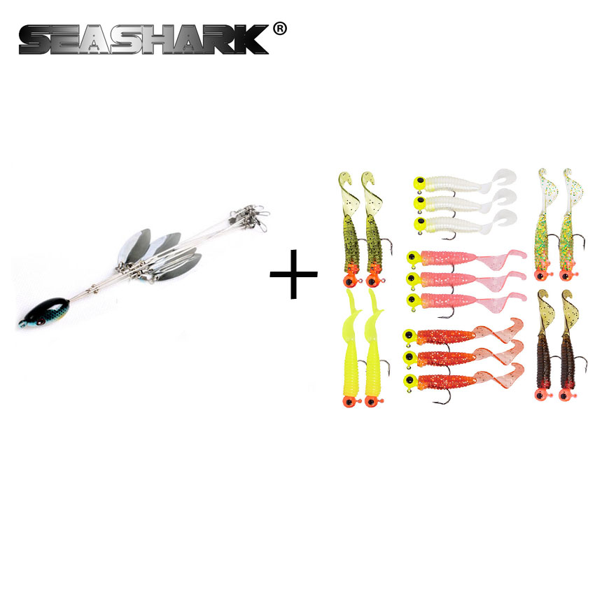 SEASHARK 1pcs Alabama Rigs Artificial Baits +17pcs curly tail soft worms 45mm 1g with 17pcs lead head hook 2.5g