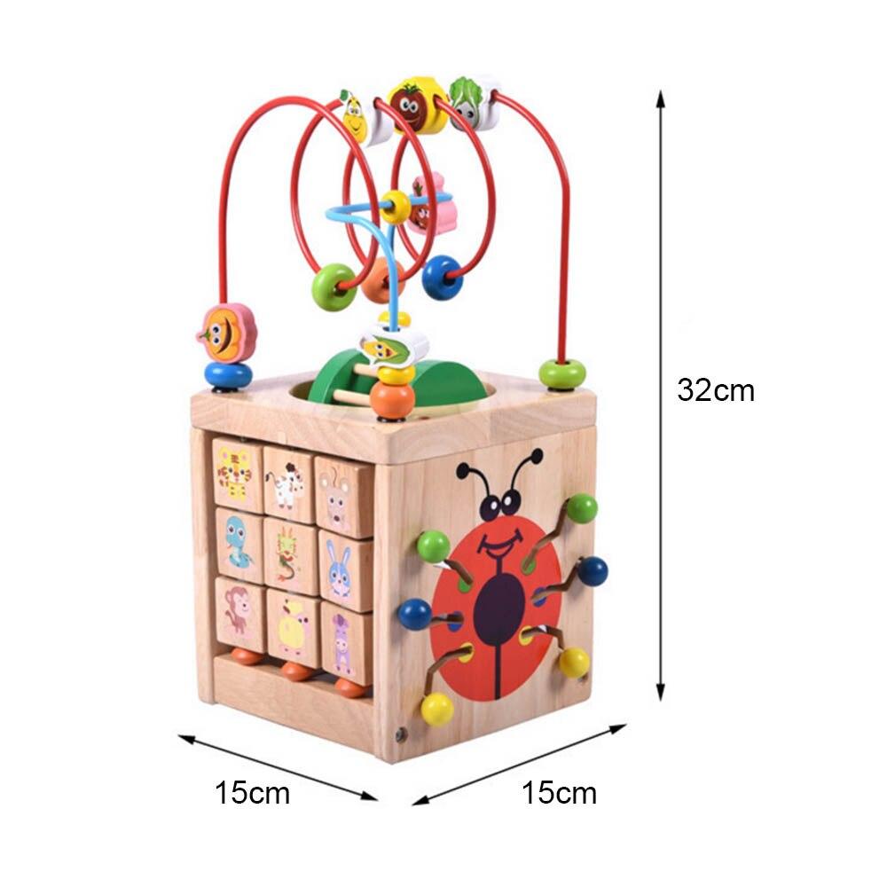 Multi-fonction 6 en 1 mathématiques en bois autour de perles labyrinthe lettres reconnaissance boulier horloge apprentissage jouets éducatifs pour enfants jouets mathématiques - 6