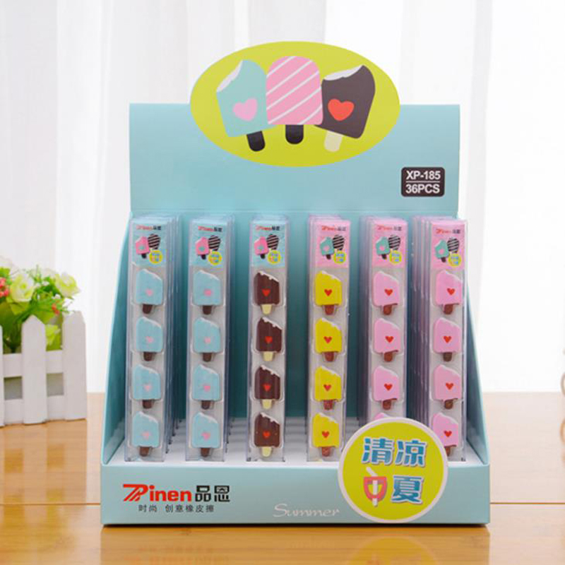 5 Pcs/pack Kawaii Mini Heart Ice Cream Popsicle Rubber Pencil Erasers Correction School Office Supply Student Stationery Gift