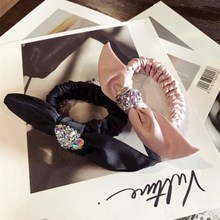 Korea Silk Crystal  Flower Hair Accessories For Girls Bows Weave Elastic Bands Rubber Band Ring Shining Tie