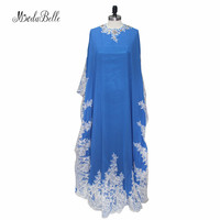 Modabelle Dubai Kaftan Formal Evening Gowns Dresses Long Dark Blue Lace Crystal Evening African Dresses Robe Soiree Longue Femme