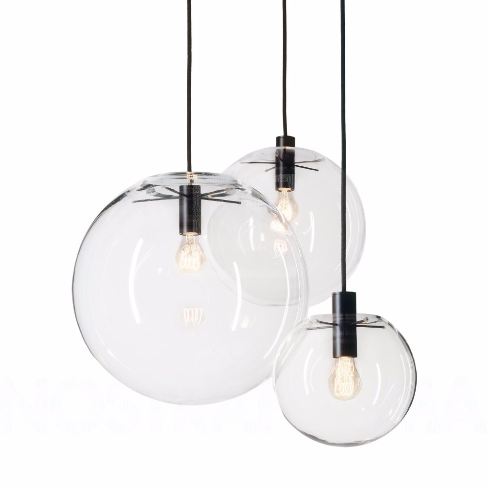 Modern Nordic Lustre Globe Pendant Lights Fixture Home deco Glass Ball pendant Lamp DIY E27 Suspension clear glass Hanging Lamp in Pendant Lights from Lights Lighting