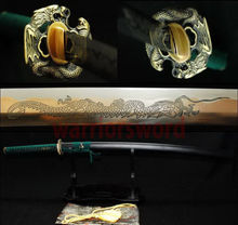 Japanese samurai sword katana 1095 High Carbon Steel Carving a dragon blade sharp  full tang handle battle Ready