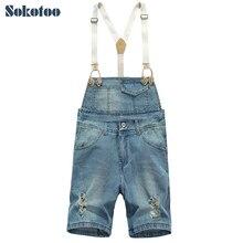 Sokotoo мужская отверстия джинсовые комбинезоны лето голубой Корейский стиль джинсы Комбинезоны Шорты мужские Бриджи Капри Нагрудник брюки