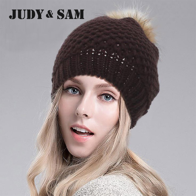 New 2015 Fashion Colors Warm Wool Knitted Pattern Women Man Apparel Accessories Beanie Hat with Real Fur Pom Poms Top Winter Hat