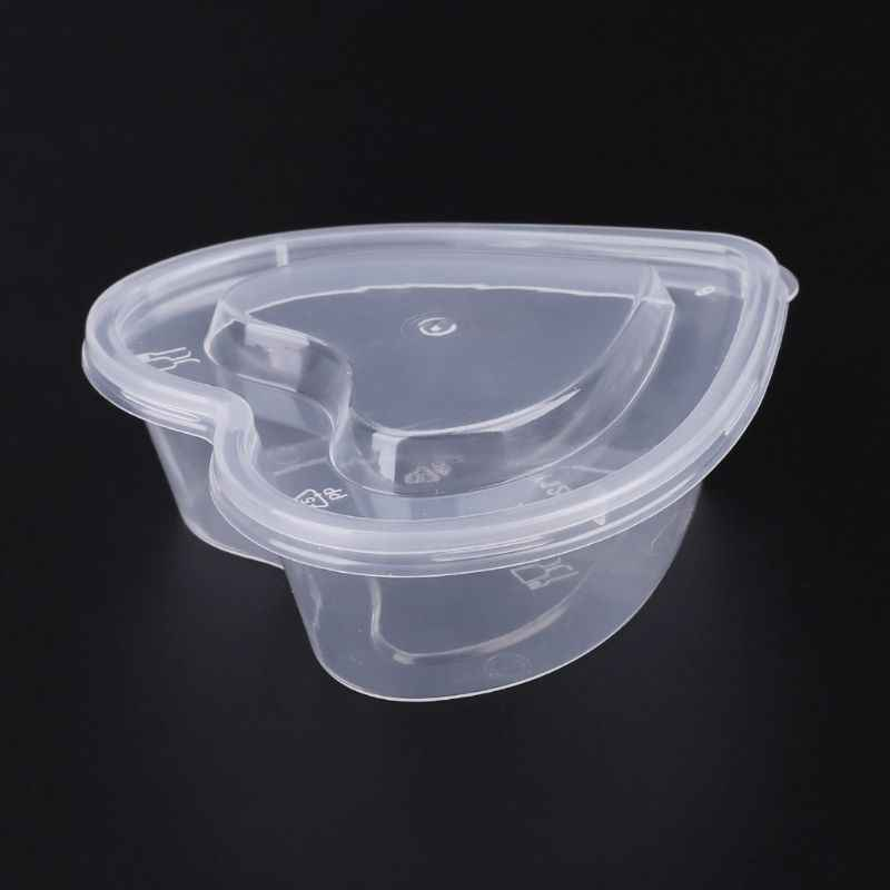 1Pc 120ml Heart Shape Clear Plastic Sauce Chutney Cups Food Container Slime Storage Box Case with Lid