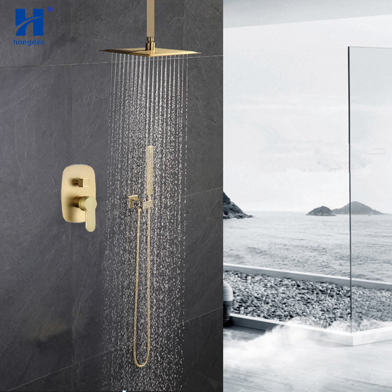 Hongdec Luxury Bathroom Brass Brushed gold ceiling 10 Rainfall Shower System set