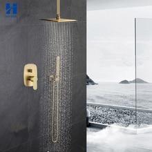 Hongdec Luxury Bathroom Brass Brushed gold ceiling 10″ Rainfall Shower System set