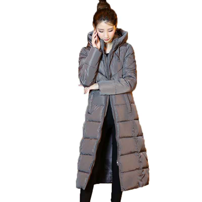 Winter women cotton jacket 2017 fashion new solid color outerwear mid-long Thickening overcoat hooded warm female Parkas wy025 цены онлайн